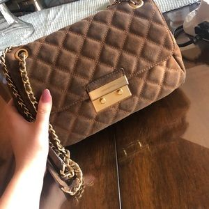 Michael Kors Gold and Brown Purse